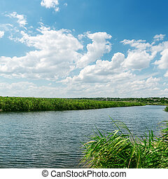 nuages, haut, eau, sous, fin, rivière