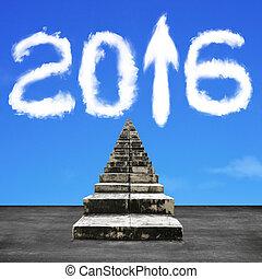 nuages, haut, forme, flèche, vieux, blanc, 2016, escalier