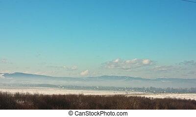 nuages, hiver, formulaire, neigeux, hills., sommet, dramatique, en mouvement, postcard:, mountain., valley., vue