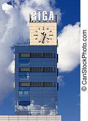nuages, horloge, train, riga, station, fond