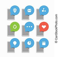 nuages, icônes, mobile, résumé, moderne, gadgets, parole