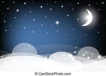 nuages, illustration., lune, ciel, stars., vecteur, nuit, briller