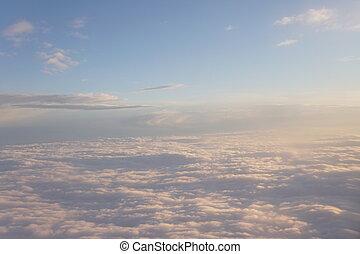 nuages, intérieur, ciel, avion, coucher soleil, paysage