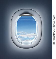 nuages, jet, sky., fenêtre, intérieur, avion, ou