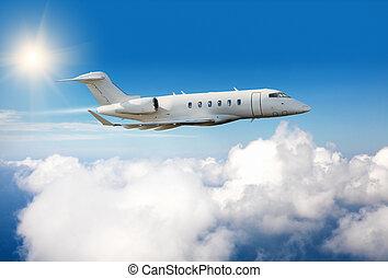 nuages, jet, voler, avion privé, au-dessus