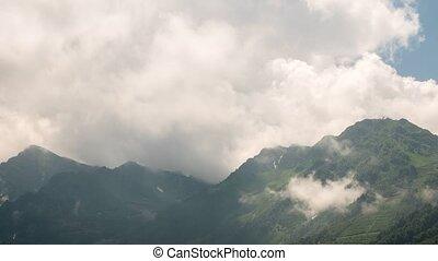 nuages, khutor, rosa, zoom., sochi, montagnes., russie