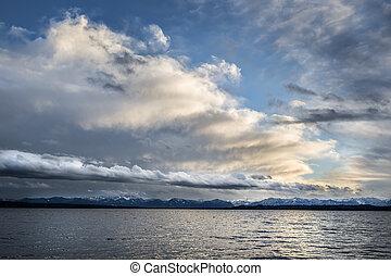 nuages, lac