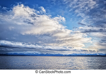 nuages, lac, tutzing