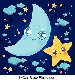 nuages, lune, ciel, illustration, characters., vecteur, étoiles, nuit
