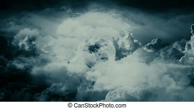 nuages, lune, voler, par