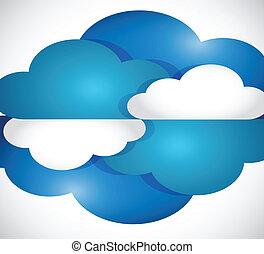 nuages, mettez stylique, illustration