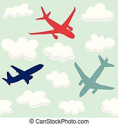 nuages, modèle, voler, seamless, avions, bébé
