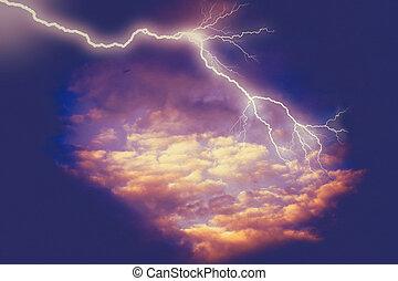 nuages, orage, éclair