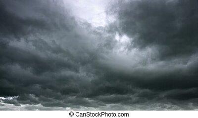 nuages, orage, lourd, boulons, gris, éclair