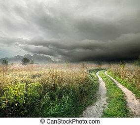 nuages, orage, route