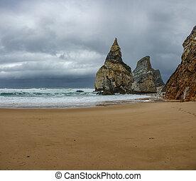 nuages, orageux, da, praia, sable, ursa, plage