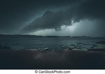 nuages, orageux, -, temps, mer, condition, extrême