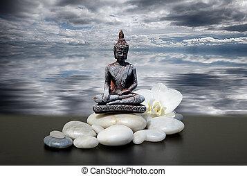 nuages, ou, zen, ciel, blanc, background-buddha, orchidée, eau, fleurs, sombre, pierre, reflété, feng-shui