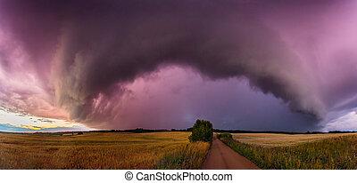 nuages, panorama, pleuvoir orage, étagère, intense, nuage