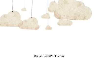 nuages, par, mouche, papier