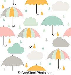 nuages, parapluie, pluie, modèle, seamless