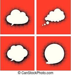 nuages, pointillé, red., parole, blanc, ombre