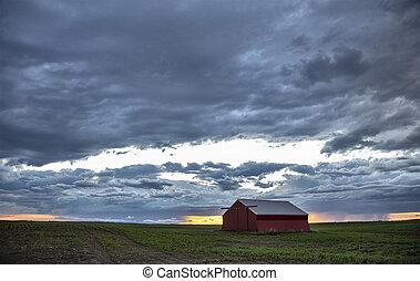 nuages, prairie, orage, canada