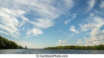 nuages, rivière, temps, lapses, été, mouvement