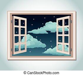 nuages, salle, ciel, fenêtre, étoiles, nuit