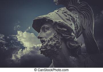 nuages, sculptures, sur, général, grec, fond, pericles