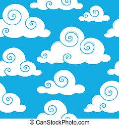 nuages, seamless, fond, 6