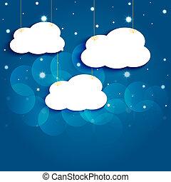 nuages, sky., eps10., vecteur, étoiles, nuit, dessin animé