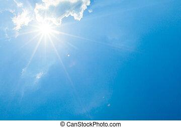 nuages, soleil, ciel bleu