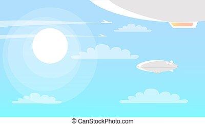 nuages, soleil, voler, ciel, aéronefs, briller