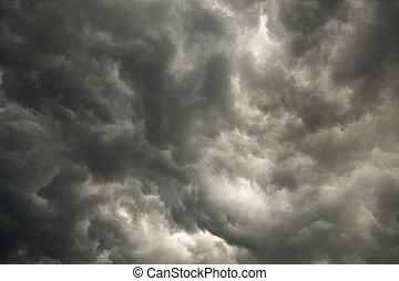 nuages sombres, ciel, orage