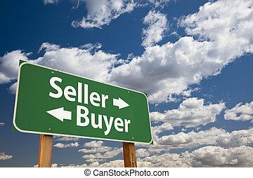 nuages, sur, signe, vendeur, vert, acheteur, route