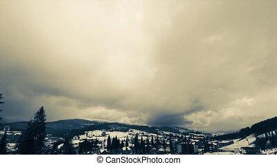 nuages, sur, timelapse, en mouvement, mountain., sommet