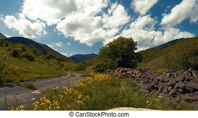 nuages, sur, timelapse, vert, arménien, vidéo, vallée, mouvement