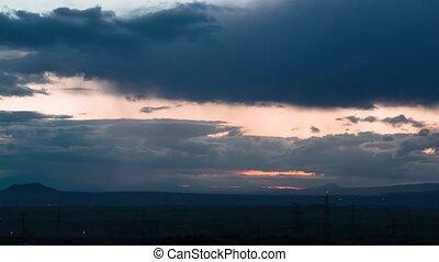 nuages, sur, timelapse, vidéo, arménien, vallée, mouvement