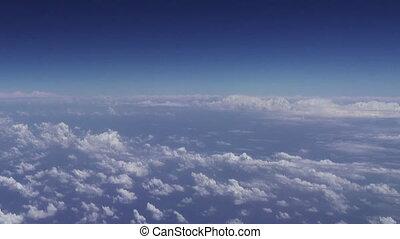 nuages, sur, voler, clouds., horizon, vue.