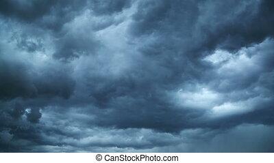nuages, téléspectateur, timelapse, -, jeûne, sombre, en mouvement, orage