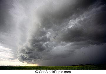 nuages tempête, canada, prairie