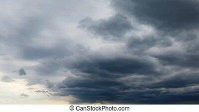 nuages, timelapse, pluvieux, pluie, ciel