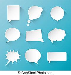 nuages, vecteur, parole, w, blanc, bulle