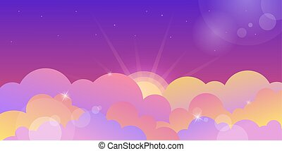 nuages, violet, coucher soleil, couleur, ciel