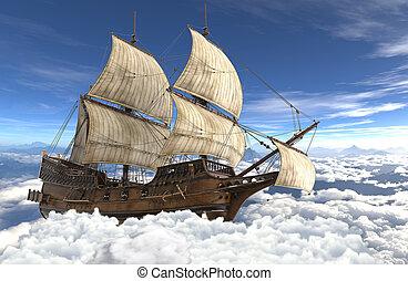 nuages, voilier, voler, illustration, au-dessus, 3d