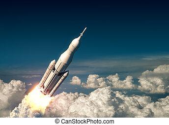 nuages, vol, au-dessus, grand, fusée, porteur