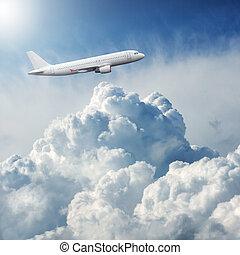 nuages, voler, avion, dramatique, par, orage