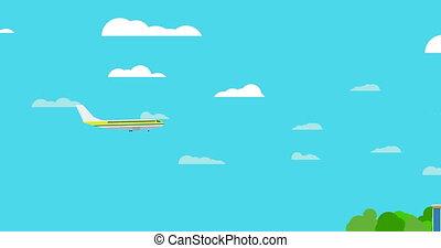 nuages, voler, bleu, métrage, ciel, blanc, avion, fond