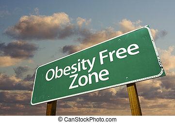 nuages, zone, gratuite, signe, vert, obésité, route